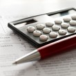 Tax form, pen and calculator — Stock Photo #9287953
