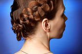 Modern hairdo with plaits — Stock Photo