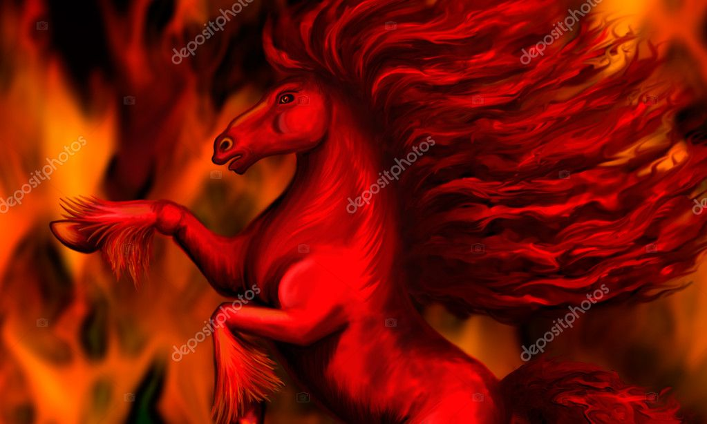 Stallion against the backdrop of fire, bitmap  Stock Photo #8000375