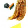 Composition with straw broom - Stock Photo