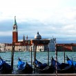 View of the drifting gondolas in Venice - Stock Photo