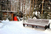 Park bench in winter landscape — Stock Photo