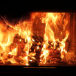 Burning wood in a fireplace - Stock Photo