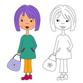 Fashion girl. Coloring book — Stock Photo