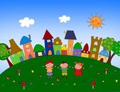 Illustration for children - Town — Stock Photo