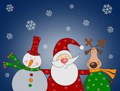 Santa Claus, Snowman and Reindeer — Stock Photo