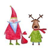 Santa Claus and reindeer — Stock Photo