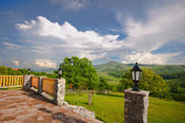 Enclosed terrace with mountain views — Stock Photo