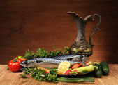 Mackerel and vegetables — Stockfoto