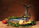 Makrill och grönsaker — Stockfoto