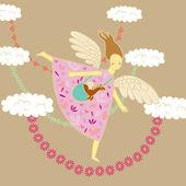 Engel und drache — Stockvektor
