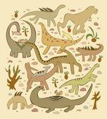 Mundo de los dinosaurios — Vector de stock
