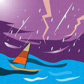 Boat during a heavy storm — Stock Photo