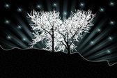 White trees silhouettes — Stock Photo