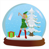 Elf Snow Globe — Vector de stock