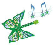 Butterfly Guitar — Stock Vector