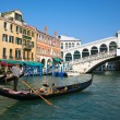 gondola at rialto bridge — Stock Photo