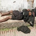 Sleeping beggar — Stock Photo