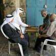 Old arab men playing backgammon, old city, jerusalem, israel — Stock Photo