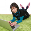 Woman and laptop — Stock Photo