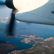 Aeroplane flying over Croatia — Foto Stock