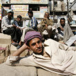Happy young indian workers relaxing after work, delhi, india — Stock Photo
