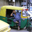 Rickshaw driver having siesta, new delhi, india — Stock Photo