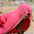 Village woman taking break from work, rajasthan, india — Stock Photo