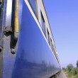 Perspective view of speeding train, india - Stock Photo