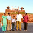 Family in front of fort — Foto Stock