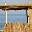 Reed hut on beach, red sea, sinai, egypt — Stock Photo