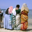 Stock Photo: Family at beach, kerala, india