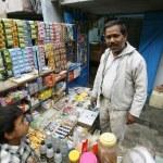 scène bij candy shop, delhi, india — Stockfoto