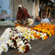 Stock Photo: Old lady selling flowers, delhi, india