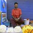 Flower seller on the street, kerala, india — Stock Photo