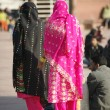 Women in colourful saris at Jama Masjid, Delhi, India — Stock Photo