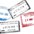 Visa passport stamp from Croatia and India - Stock Photo