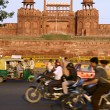 Stock Photo: Traffic infront of red fort, delhi, india