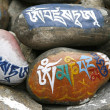 Tibetan mani prayer stones - Stock Photo