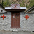 Small red cross dispensary on annapurncircuit, nepal — Stock Photo #8047760