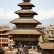 Foto Stock: Gather on Pagodstairs during Nepali New Year