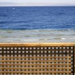 Wooden beach partition, red sea, sinai, egypt - Stock Photo