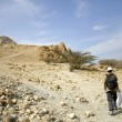 Man walking in desert landscape in the dead sea region — Stock Photo