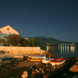 Night shot of house on mediterranean seaside in croatia — Stock Photo
