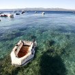 Stock Photo: Inflatable boat on mediterranesein Croatia