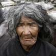 Old gurung lady, annapurna, nepal - Stock Photo