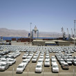 Stock Photo: New cars lined up in port of eilat, israel