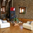 Stock Photo: Cozy modern living room with fireplace