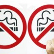Stock Photo: Couple smoking no smoking sign