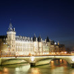 La conciergerie at night with pont de l'horloge in foreground, paris, — Photo #8049281